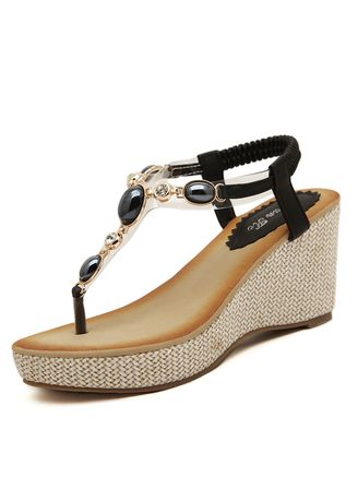 Black color Sandals and Slippers . Women's Casual Wedge Sandals Fashion Diamond Female Student Shoes -
