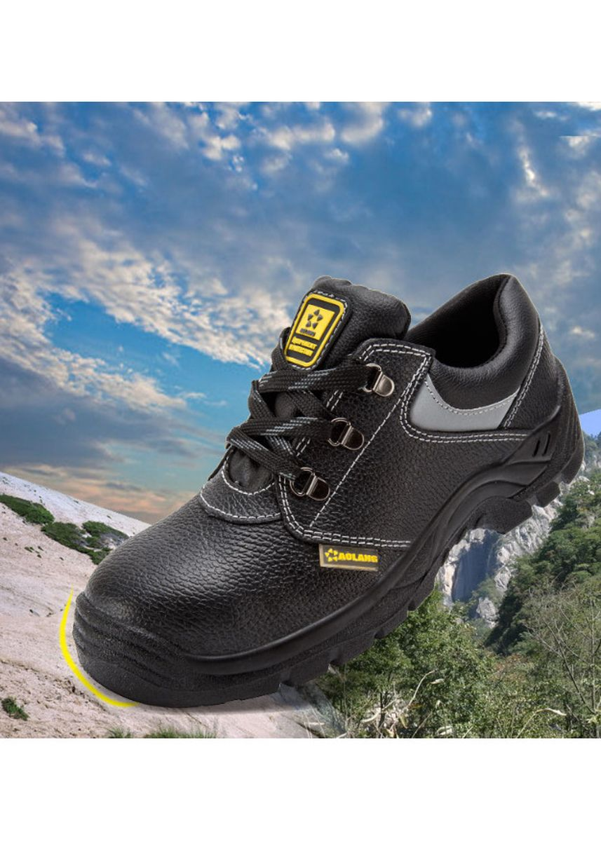 Black color Sports Shoes . Safety Shoe Men Steel Toe Cap Water Resistant Hiking Anti-Smashing Anti-Puncture -