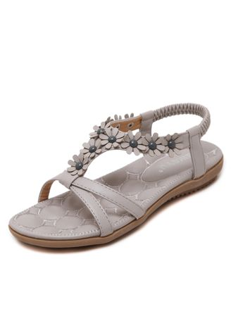 Grey color Sandals and Slippers . Fashion Female Flower Sandals Women's Shoes Casual Large Size Beach Shoes -