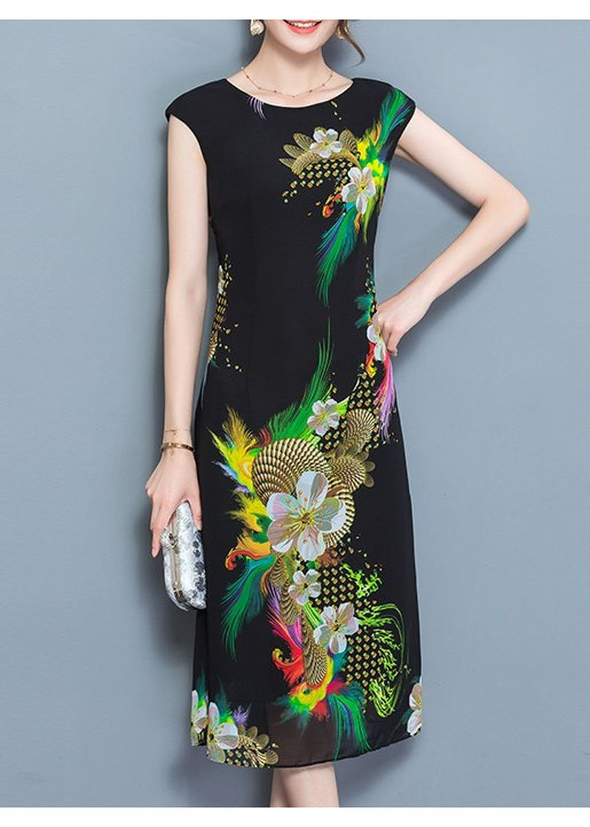 Black color Plus Size Fashion . Chiffon Sleeveless Colorful Pattern Dress -