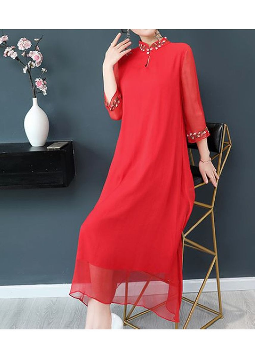 Red color Plus Size Fashion . China National Cheongsam Dress -