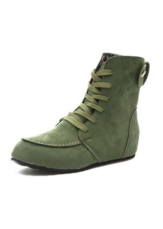 Green color Boots . Sweet Lace-Up Martin Boot -