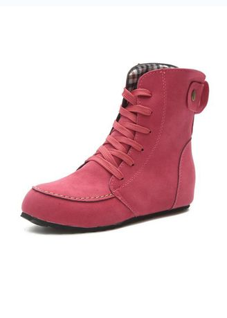 Pink color Boots . Sweet Lace-Up Martin Boot -