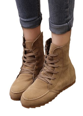 Khaki color Boots . Sweet Lace-Up Martin Boot -