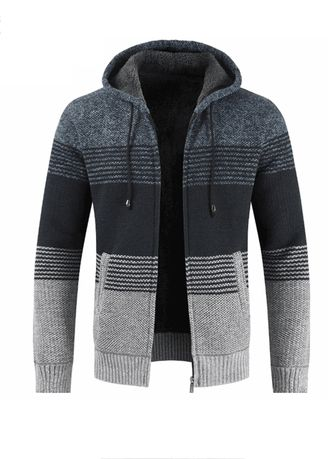 Navy color Sweatshirts . Men Thickening Hooded Color Matching Sweater Cardigan Coat -