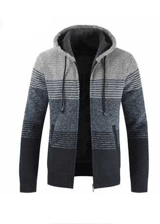 Light Grey color Sweatshirts . Men Thickening Hooded Color Matching Sweater Cardigan Coat -