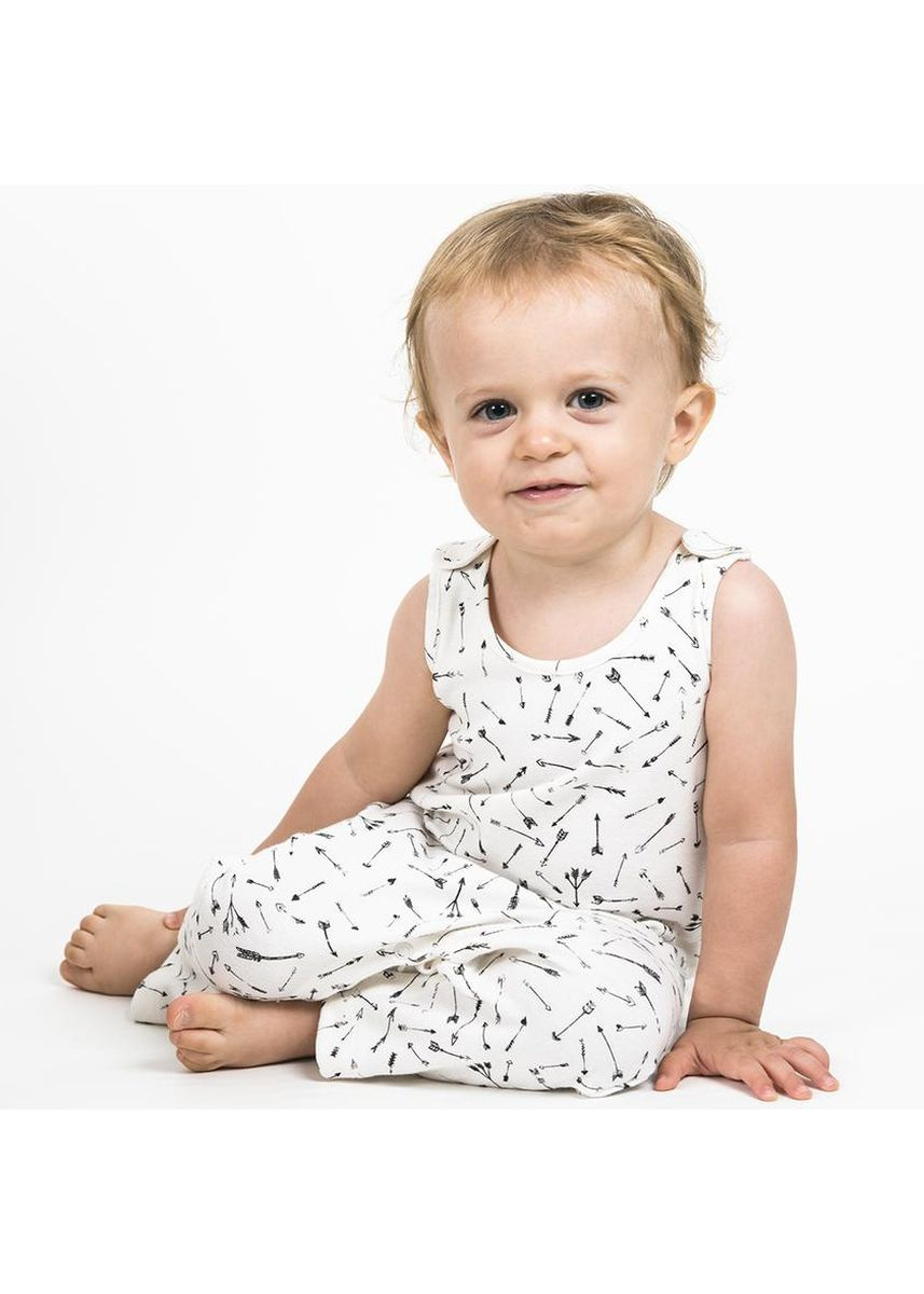 White color Dungarees . Hunter + Boo Jumpsuit - Hunter Print -