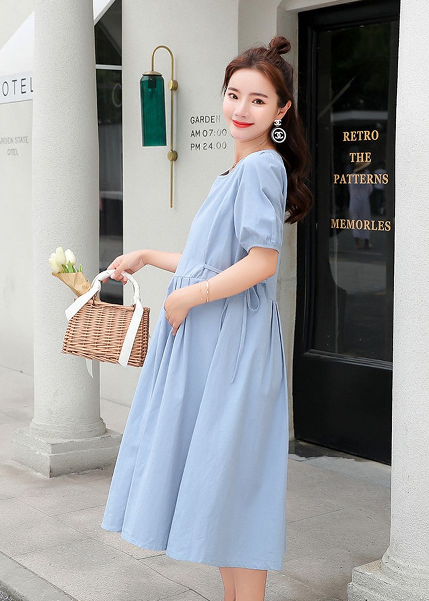 Blue color Maternity Wear .  Maternity Loose Pregnancy Short Sleeve Long Maxi Dress Skirts Blue Cotton -