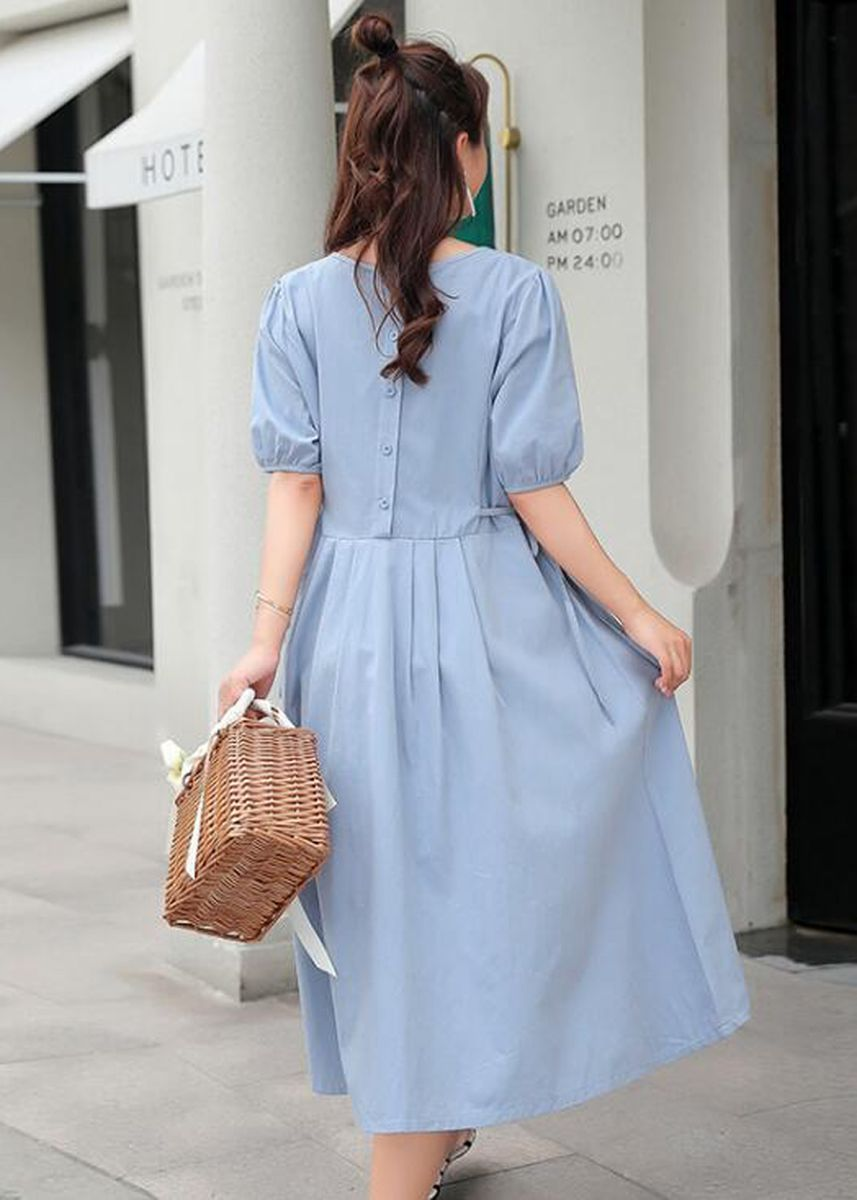 ฟ้า color เสื้อผ้าหญิงมีครรภ์ .  Maternity Loose Pregnancy Short Sleeve Long Maxi Dress Skirts Blue Cotton -