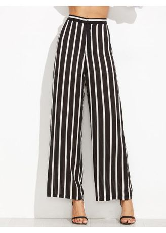 Trousers . Women's Black And White Striped Trousers -