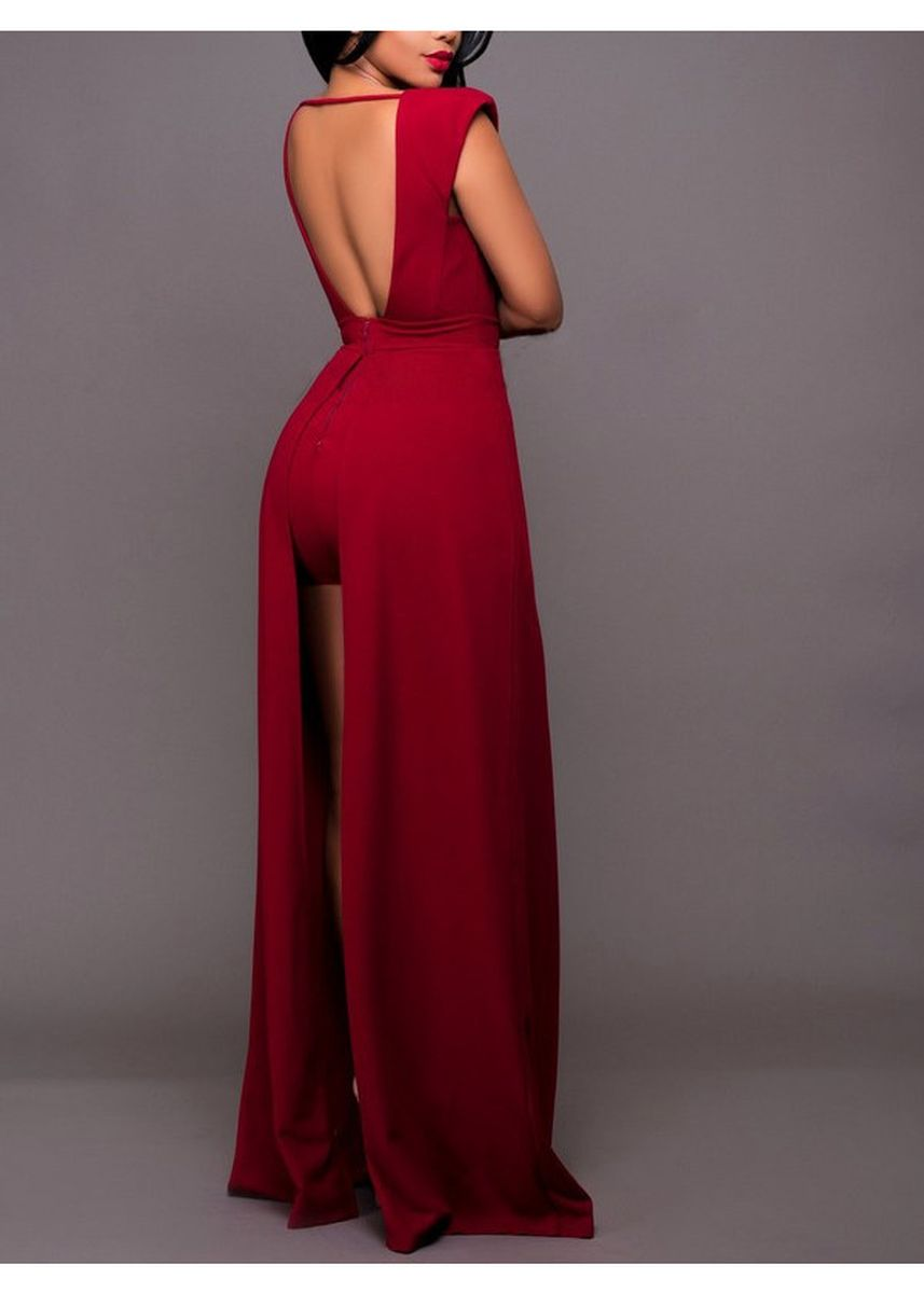 Red color Dresses . Deep V Collar Backless Jag Dresses -