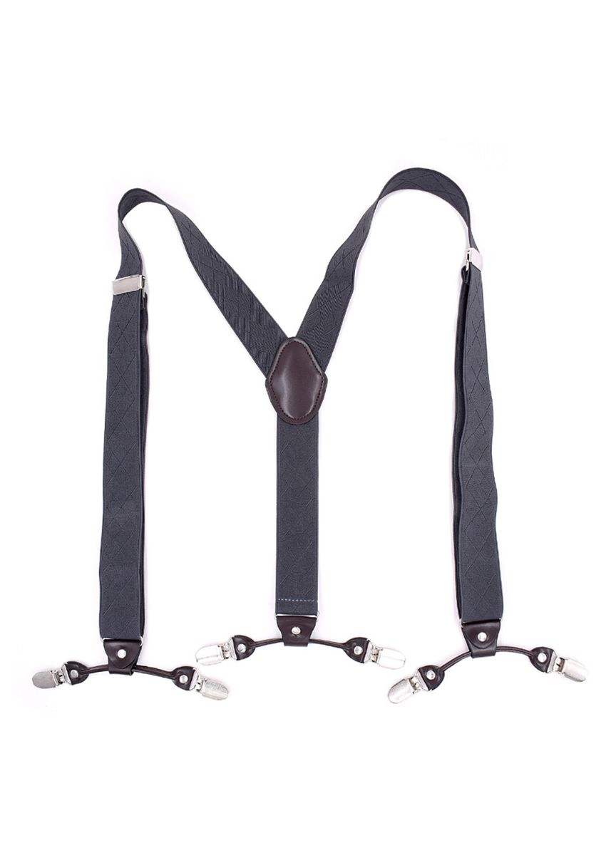 เทา color สายเอี๊ยม . Men Style Fashion 3.5 cm Elastic Solid Lingge Suspenders with 6 Clip -