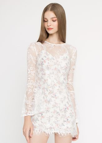 White color Dresses . Lace Floral Bell Sleeves Dress -