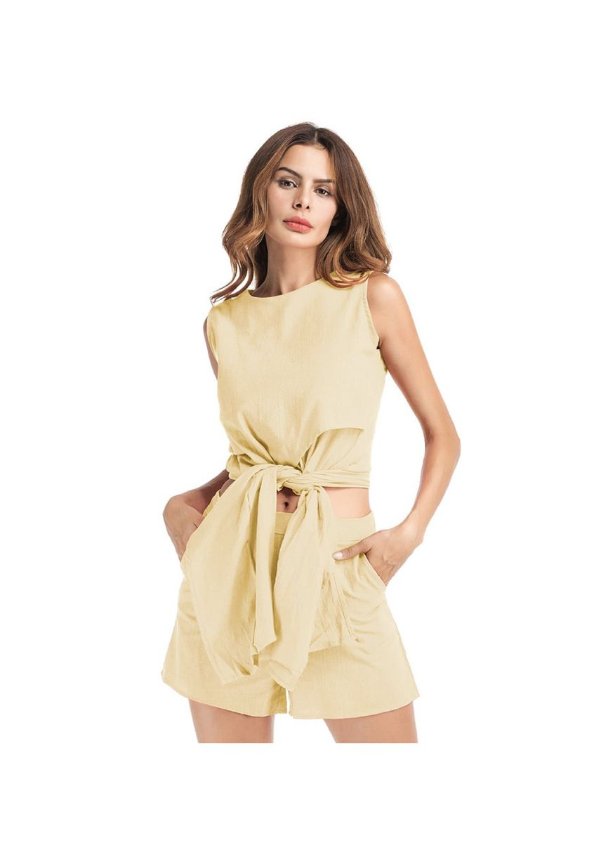 Yellow color Jump Suits . Women's Yellow Jumpsuit With Waist Tie -
