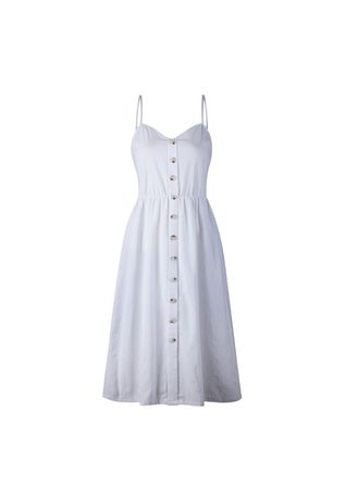 ขาว color เดรส . Women's White Spaghetti Strap Summer Dress -
