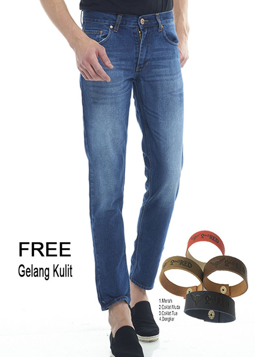 Biru Dongker color Celana Jeans . 2Nd RED Celana Jeans Fashion Regular Fit Wiskers Biru Tua 124713 -