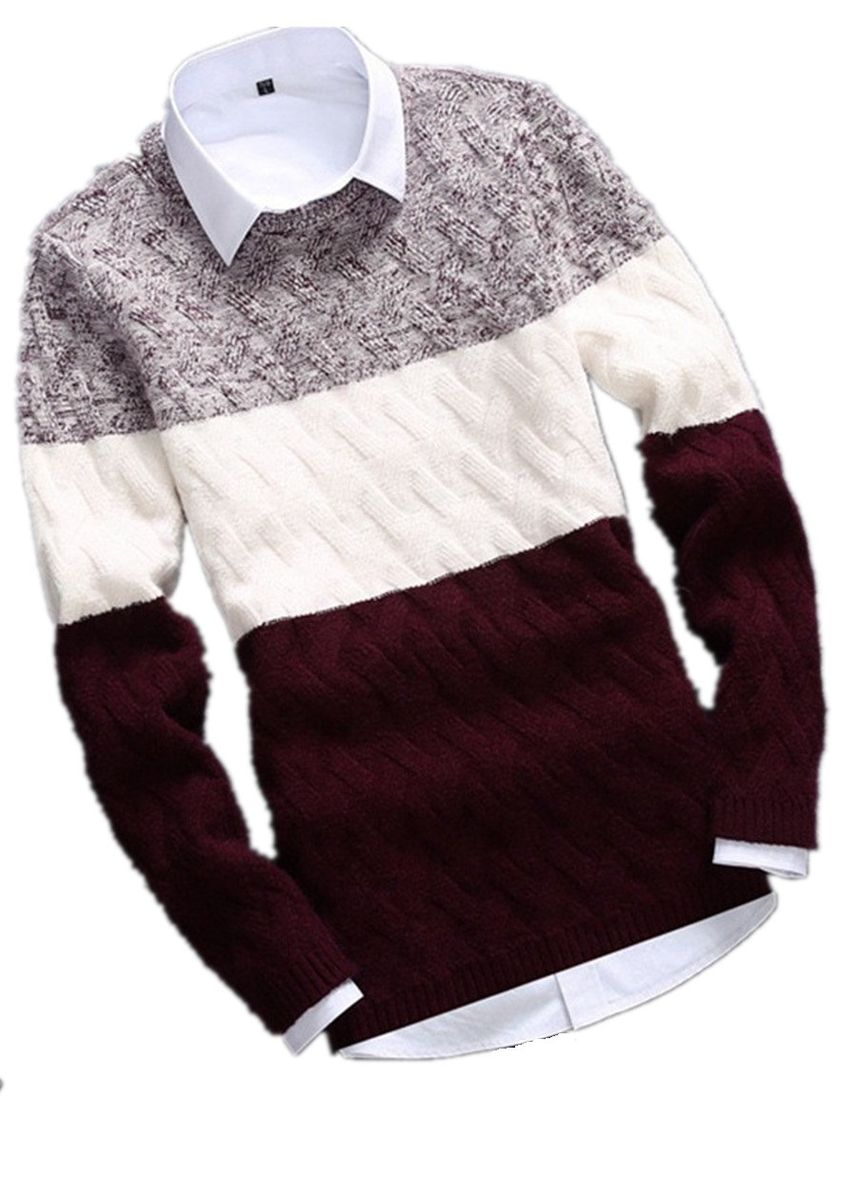 Red color Sweaters . Men Fashion Thicken Striped Sweater -