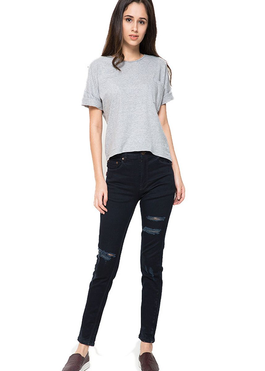 Black color Jeans . 2Nd RED Ripped Jeans Slim Fit Alice Jeans Sobek Hitam 233202 -