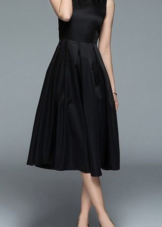 ดำ color เดรส . Elegance Sleeveless Slim Dress -