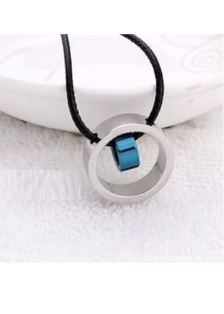 Blue color Necklaces . Stainless Steel Unisex Ring Pendant Choker + Waxed Leather Cord Necklace -