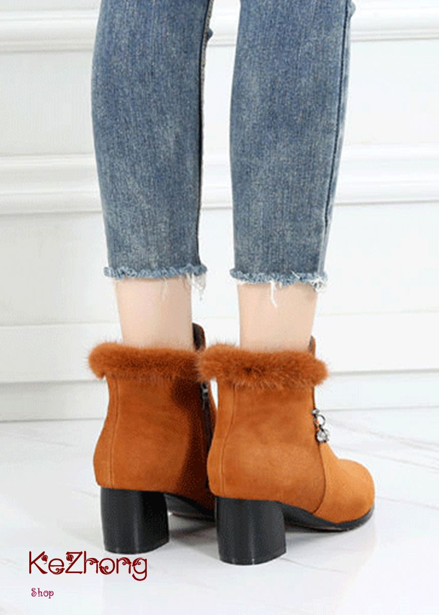Khaki color Boots . Pointed Fluff Suede Thick Bottom High-Heeled Martin Boots -