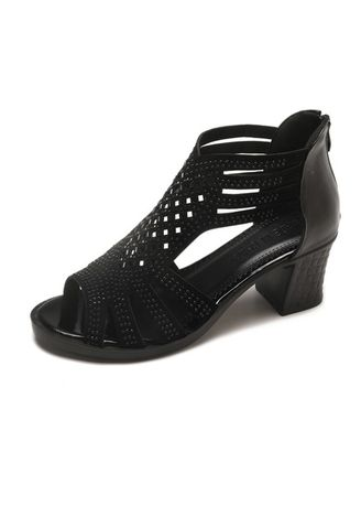 Black color Heels . Fashion Fish Mouth Rome Style Hollow Out Sandals -