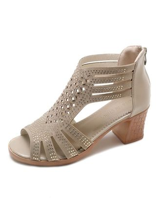 Khaki color Heels . Fashion Fish Mouth Rome Style Hollow Out Sandals -
