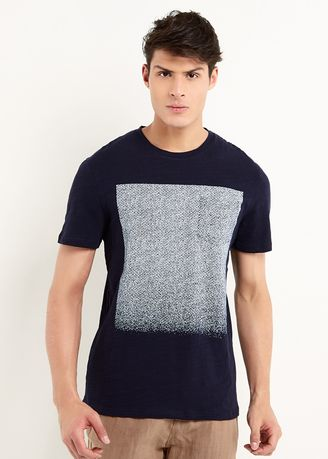 Navy color T-Shirts and Polos . Minarno Square Print Pocket S/S Tee -