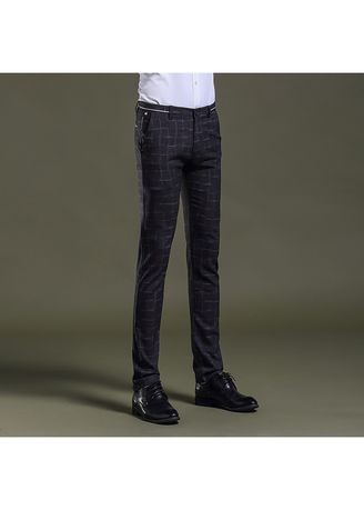 Formal Trousers . Men Slim Trend Check Fashion Trousers -