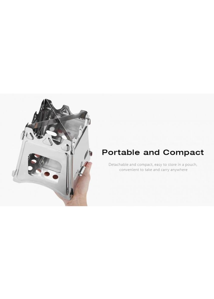 No Color color Camping & Hiking . Portable Stainless Steel Lightweight Folding Outdoor Wood Stove -