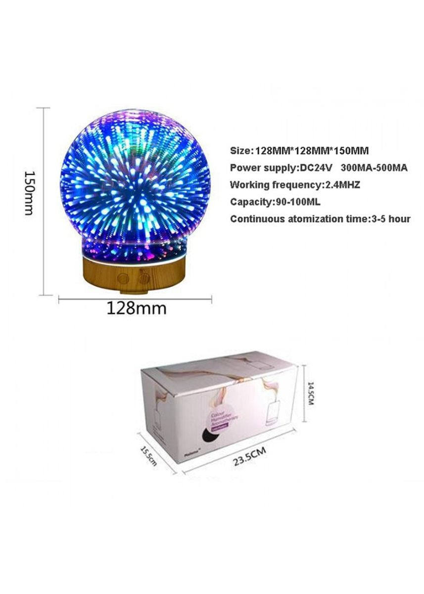 Multi color Home Fragrances . Humidifier 3D-05 Glass Circle Light Essential Oil Aroma Diffuser 100ML -