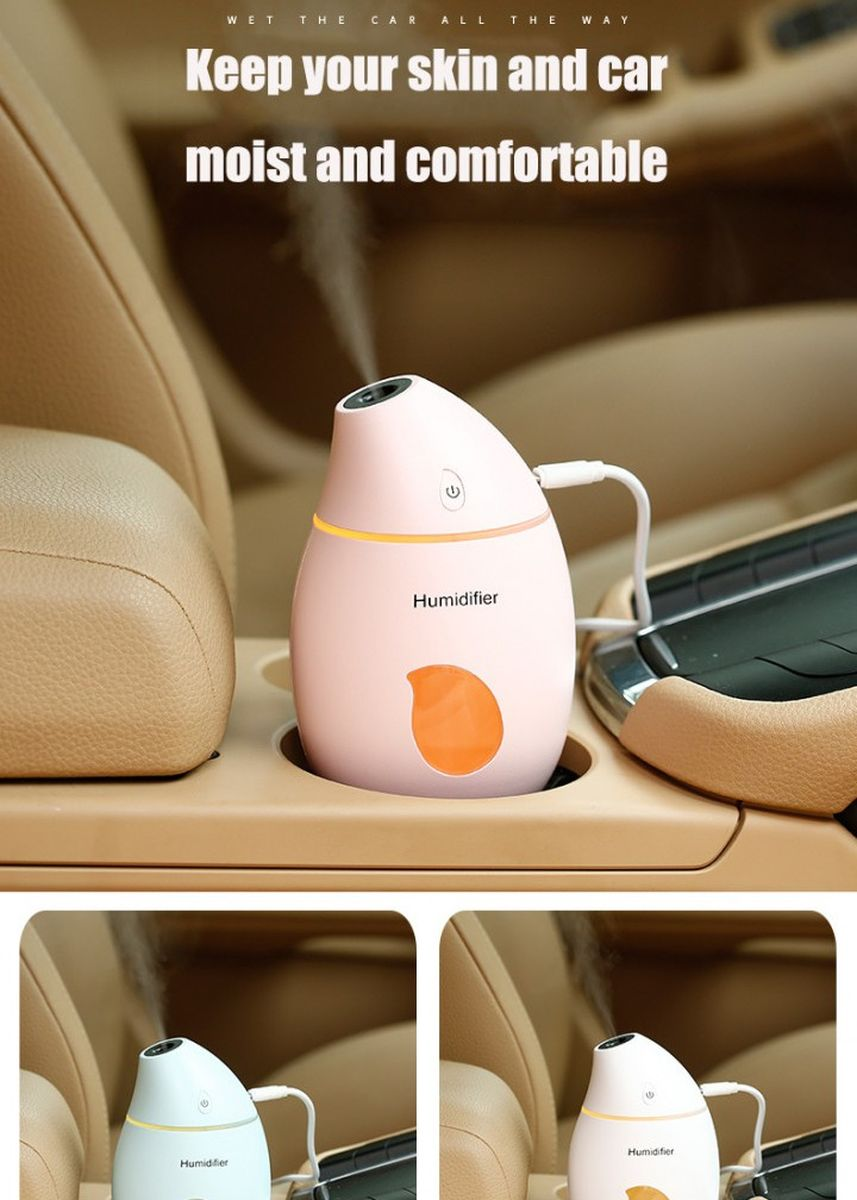 Pink color Home Fragrances . U15 USB Portable Mango Shape Mini Humidifier LED Lights 160 ML Pink -