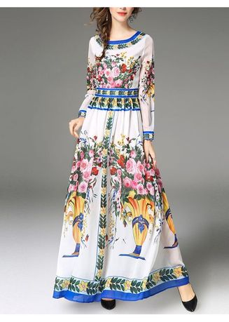 ขาว color เดรส . European Slim National Print Dress -