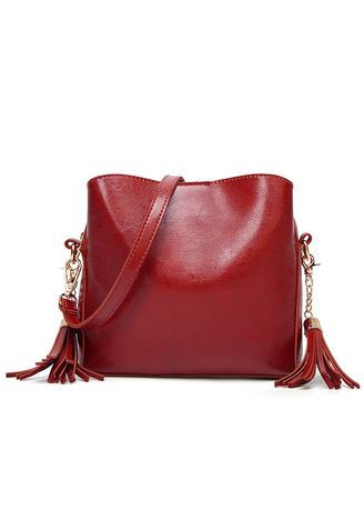 Red color Sling Bags . Summer new retro style tassel bag -