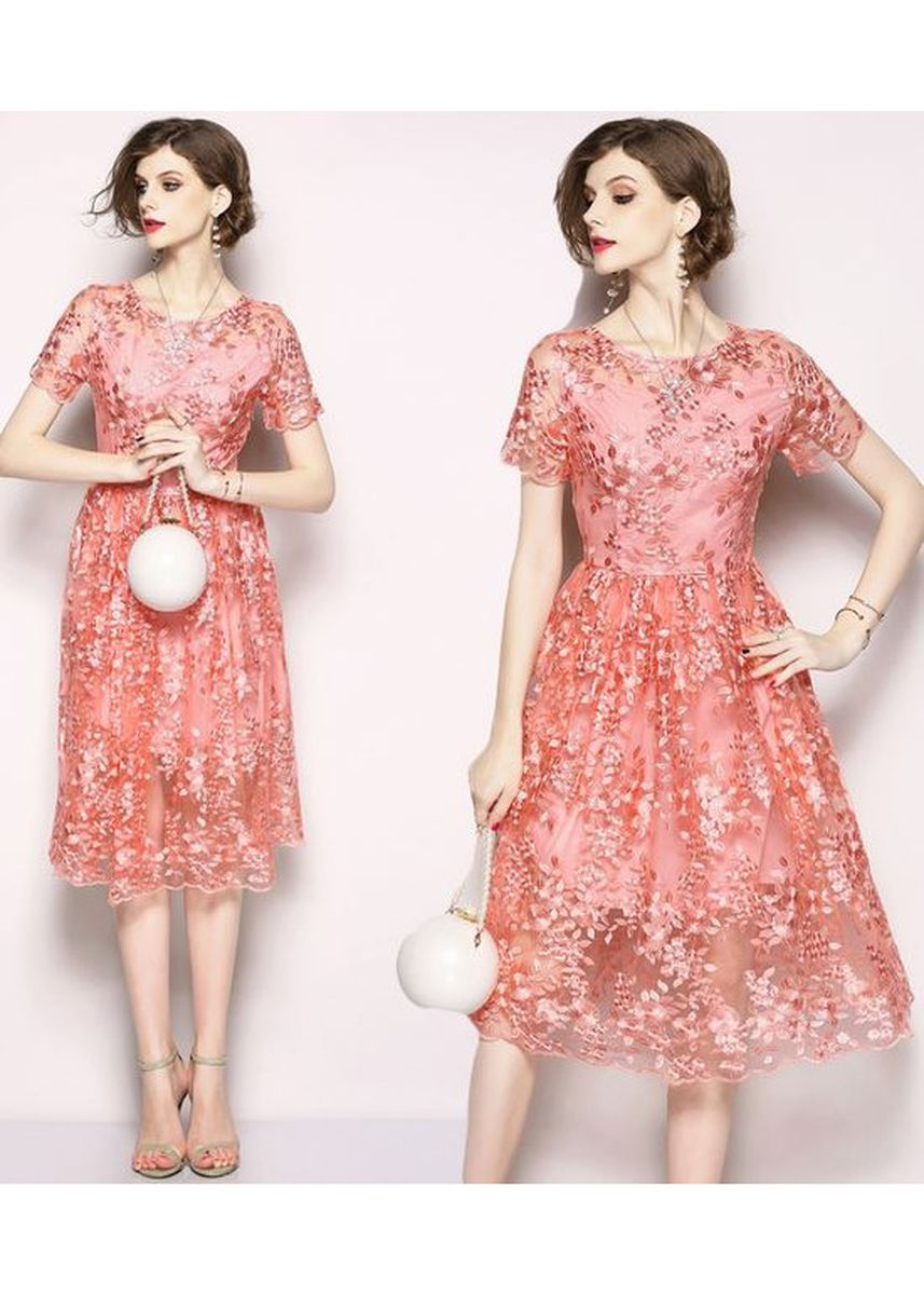 Pink color Dresses . European Style Lace Flower Embroidered Dress -