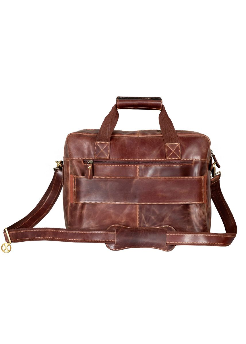 Brown color Messenger Bags . Leather Office Bag Vintage 2 Pockets Zippers - Unisex -