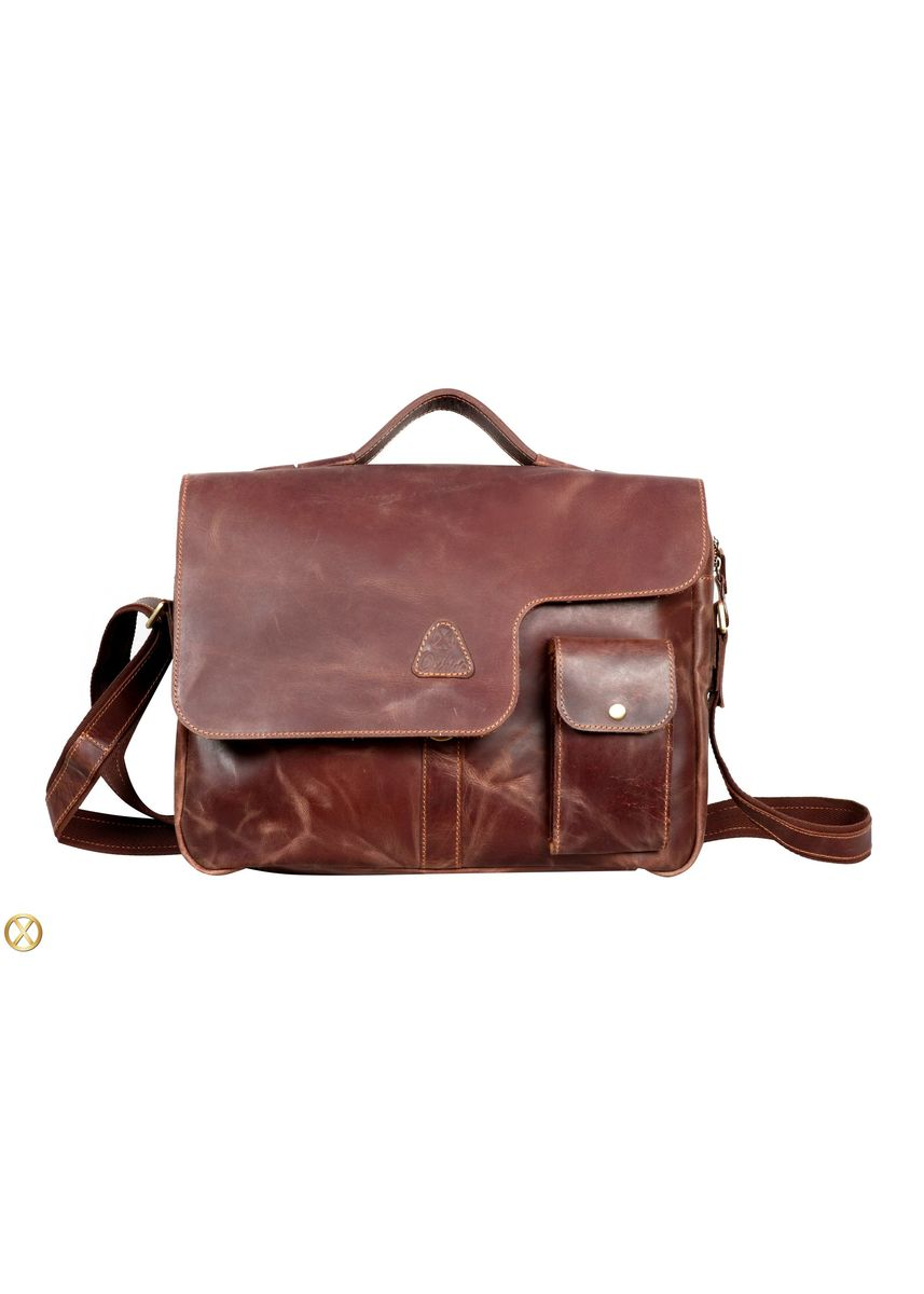 Brown color Messenger Bags . Leather Office Bag Vintage HP Pocket - Unisex -