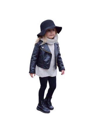 Toddler Kids Baby Girls Autumn Winter Outwear Leather Coat Short Jacket Clothes