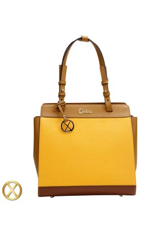 Yellow color Hand Bags . Ripple Leather Satchel Bag -