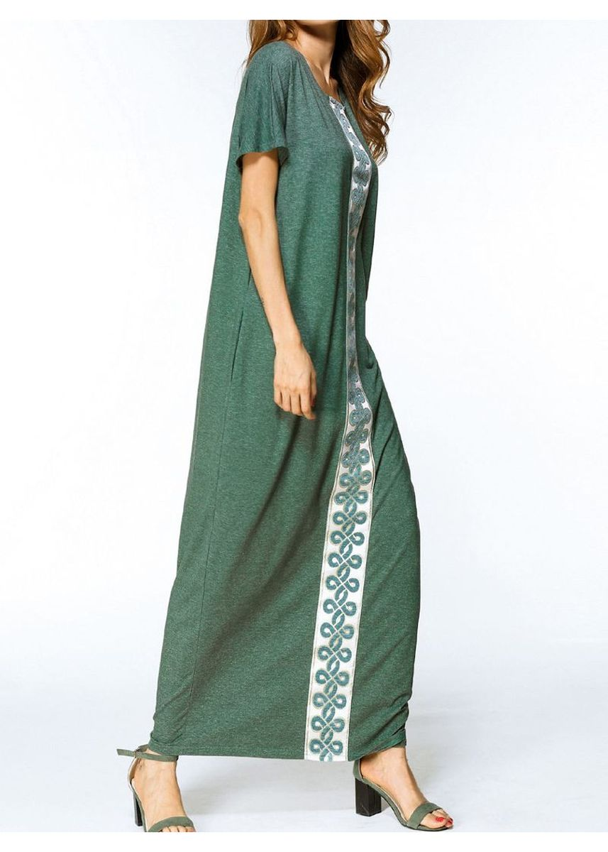 Green color Dresses . Fashion Embroidery Loosen Dress -