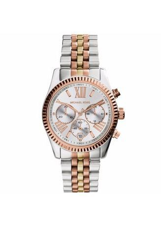 เงิน color โคโนกราฟ . MICHAEL KORS Lexington Chronograph Tri-Tone Ladies Watch MK5735 -