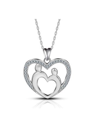 1983845a0696 S925 sterling silver love mother and child necklace with diamond pendant  accessories