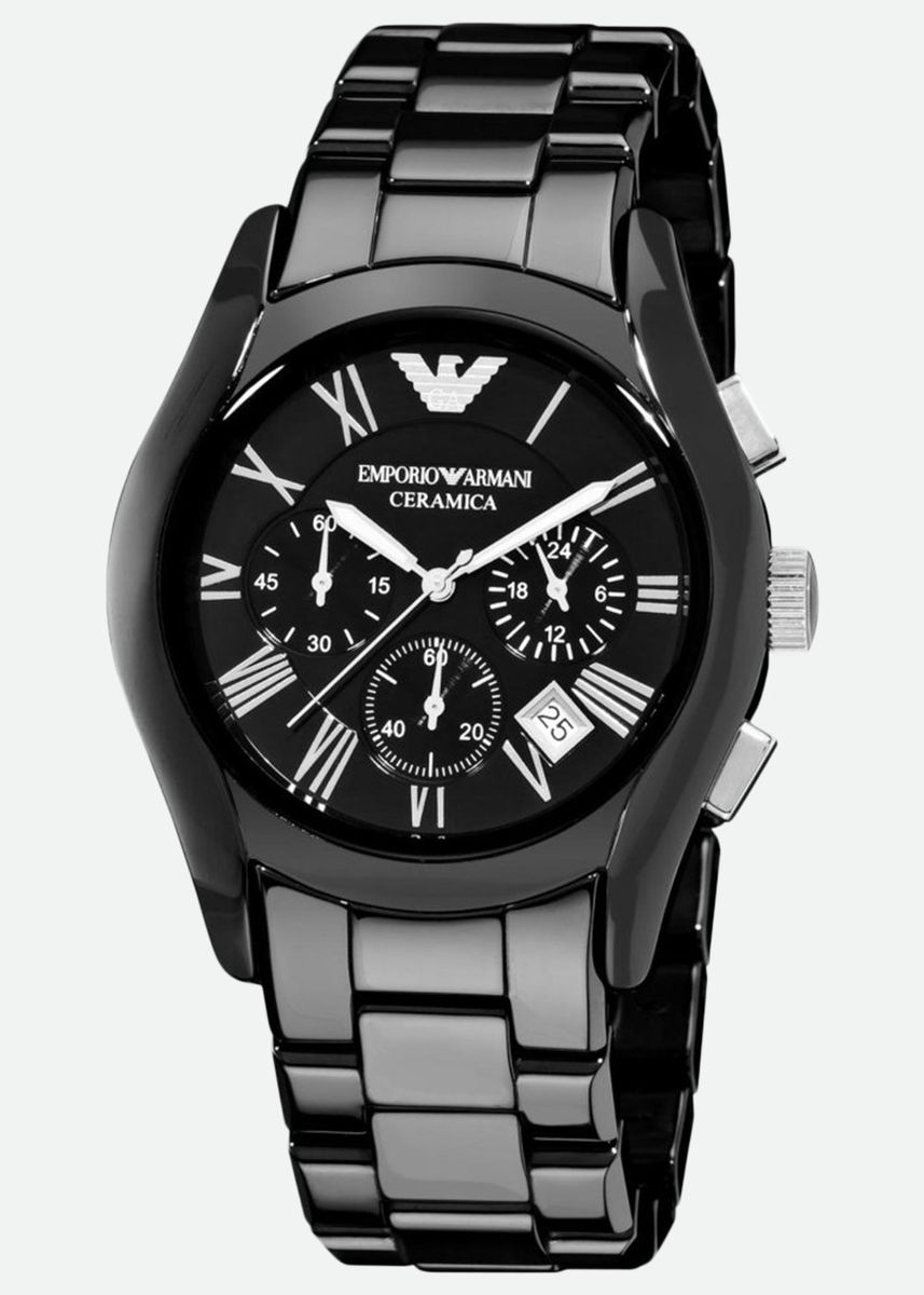 Black color Analog . Emporio Armani นาฬิกาข้อมือผู้ชาย รุ่น Chronograph Black Dial Black Ceramic Men's Watch AR1400 -