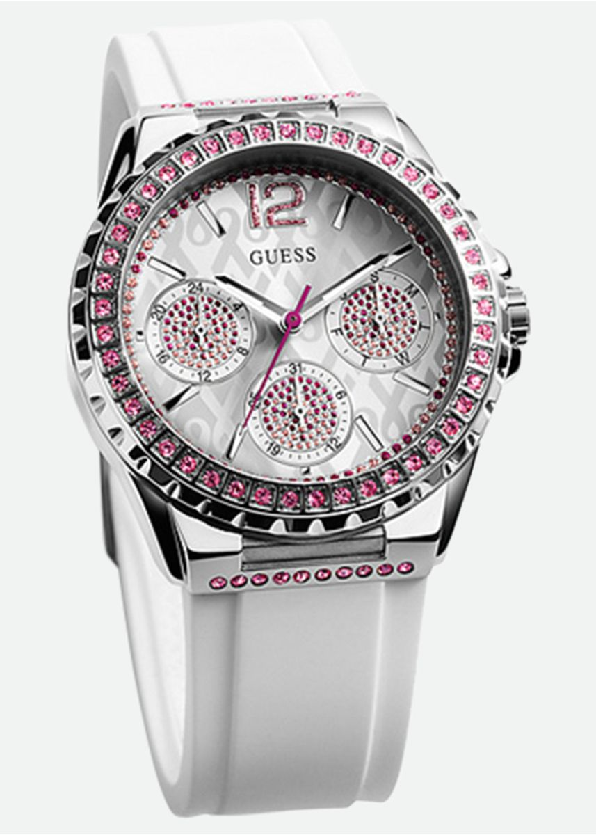 White color Analog . Guess Sparking Pink Ladies Watch W0032L6 -