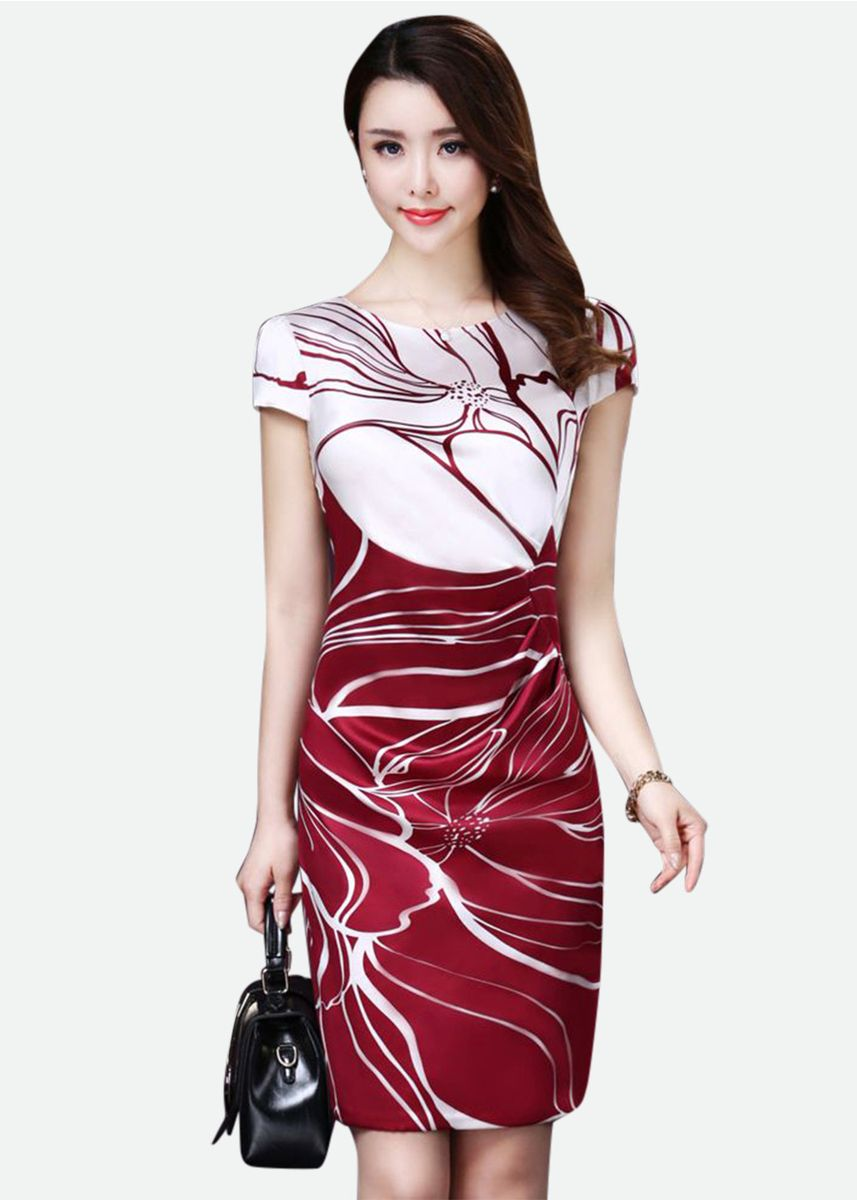 Red color Dresses . Slim Elegant Temperament Short-sleeved Printed Silk Dress -
