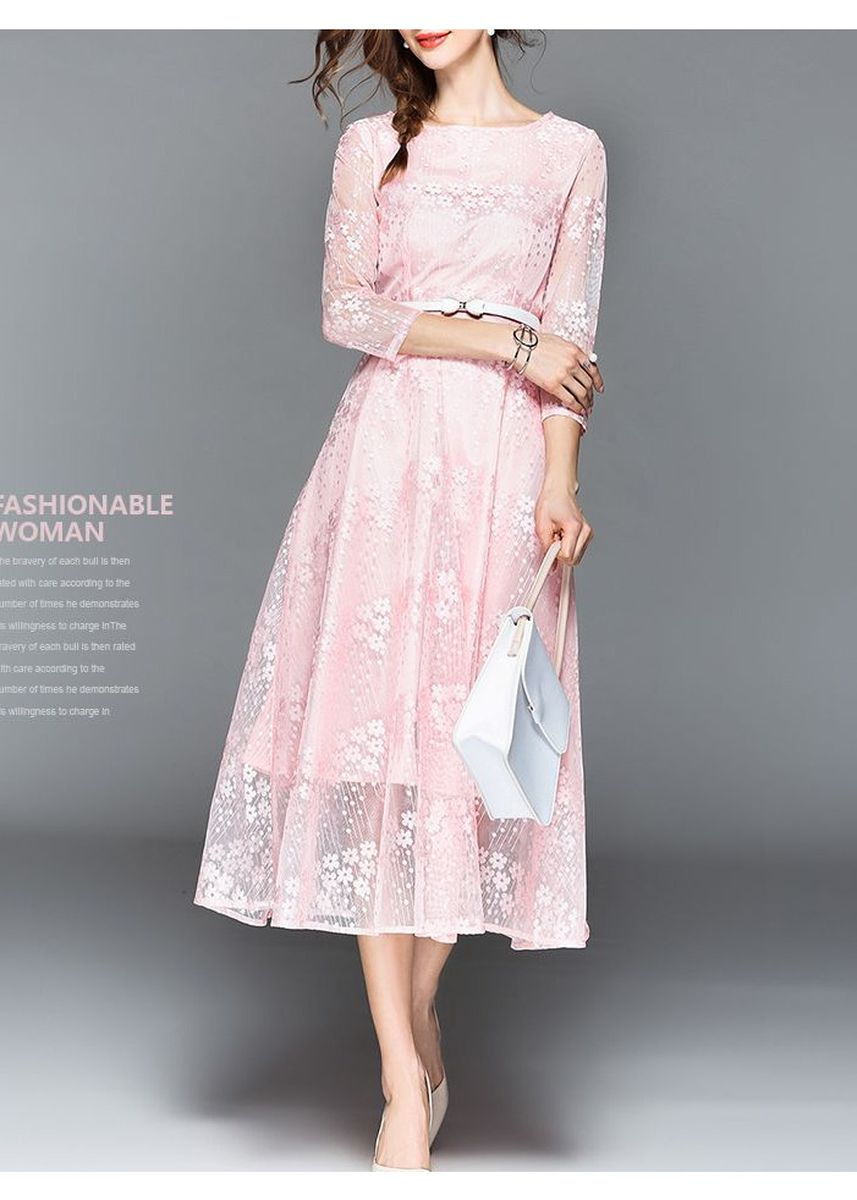 Pink color Dresses . Fashion Lace Elegance Dress (Size:S-Xxl) -