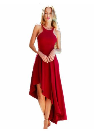Red color Dresses . Women's  Sexy  Scoop Neck Sleeveless Cocktail Party Tank Dress -