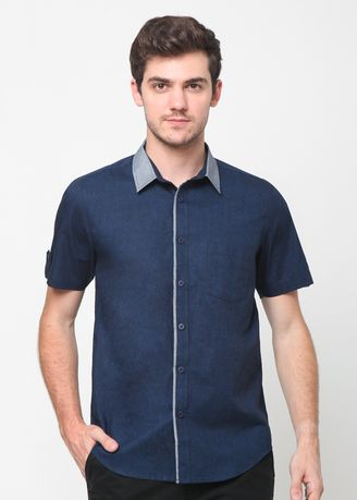 Blue color Casual Shirts . A&D Ms 1150 Mens Casual Short Sleeve   -