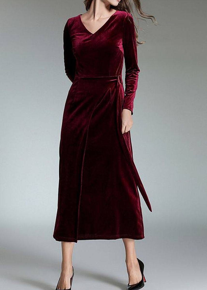 Red color Dresses . Fashion V-Collar Slim Long Dress -