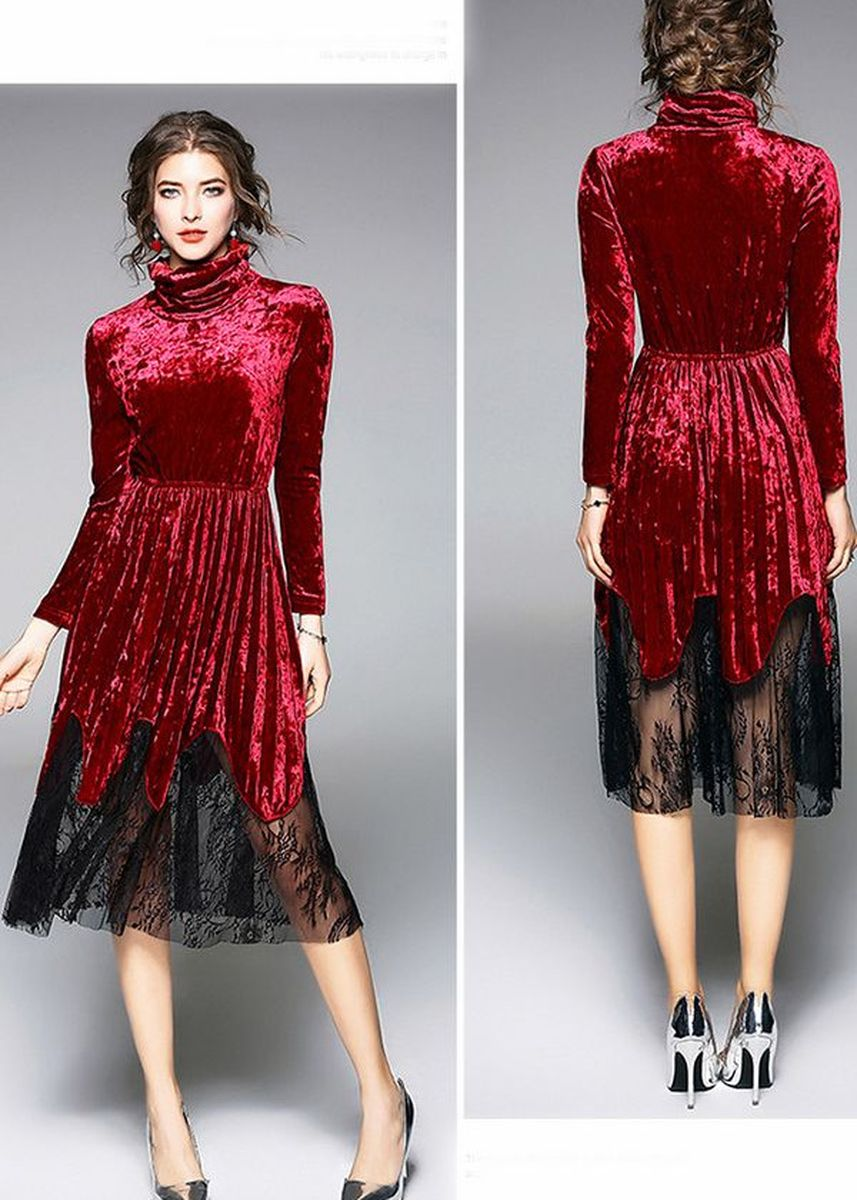 Red color Dresses . Fashion Waist Pleasted Dress -